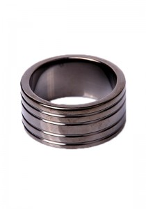 Black Steel Cockring Ribbed